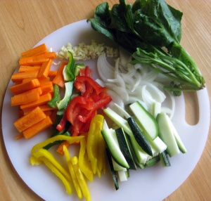 Veggies pre-fry. Minus the cabbage, which was in my freezer frozen and not picture worthy.