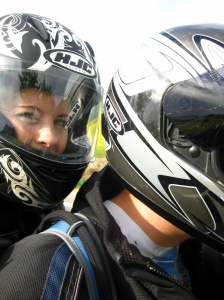 I was attempting to get us both in the shot...oops! It's hard when you are riding.