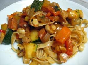 Veggie pasta in a tomato/wine sauce